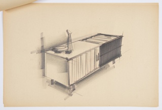 Design for storage console. At center, perspective shows rectilinear object supported by four legs. Left side features door—possibly in wood slats that fold to open by way of integral hinges. At right, dark front surface with similar wood slat material used for top-right surface. Object accented by low dish and carafe at left. Stapled to additional drawings.