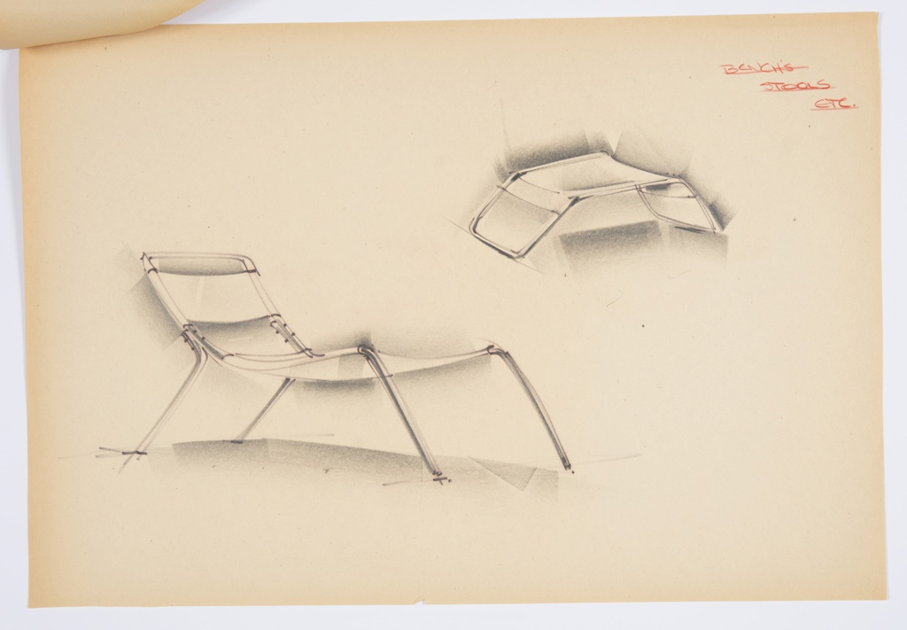 Design for lounge chair and stool for Union Carbide. At lower left, perspective shows lounge chair with sling seat and back wrapped around tubular metal or plastic frame. Legs splayed and front legs seem to form one continuous bar creating back support. At upper right, perspective shows similar style stool, with one-piece frame over which material is slung. Inscribed in red color pencil, upper right: BENCH'S / STOOLS / ETC. (underlined). Stapled to other designs.