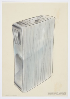 "Design for lighter for Diamond Match Company. Perspective in graphite and pastel on paper vellum shows waisted rectilinear silver, chrome, or aluminum object (object expands to wider width above). Sides, with rounded corners, highly reflective while front surface is decorated with wood-grain motif, probably chased. At upper left, horizontally ridged button swells out from side; when depressed, this triggers the lighting mechanism, seen above as a rectangular panel wherein ""Diamond"" is barely legibly engraved."