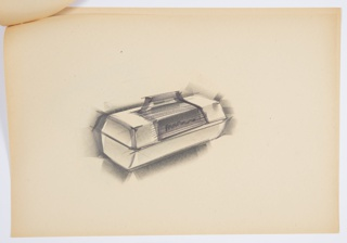 Design for a plastic lunchbox. At center, perspective shows object in closed position. Top and bottom sections both trapezoidal volumes. Top features central section in darker, horizontally striated material with notional logo at front and handle above. Stapled to additional drawings.