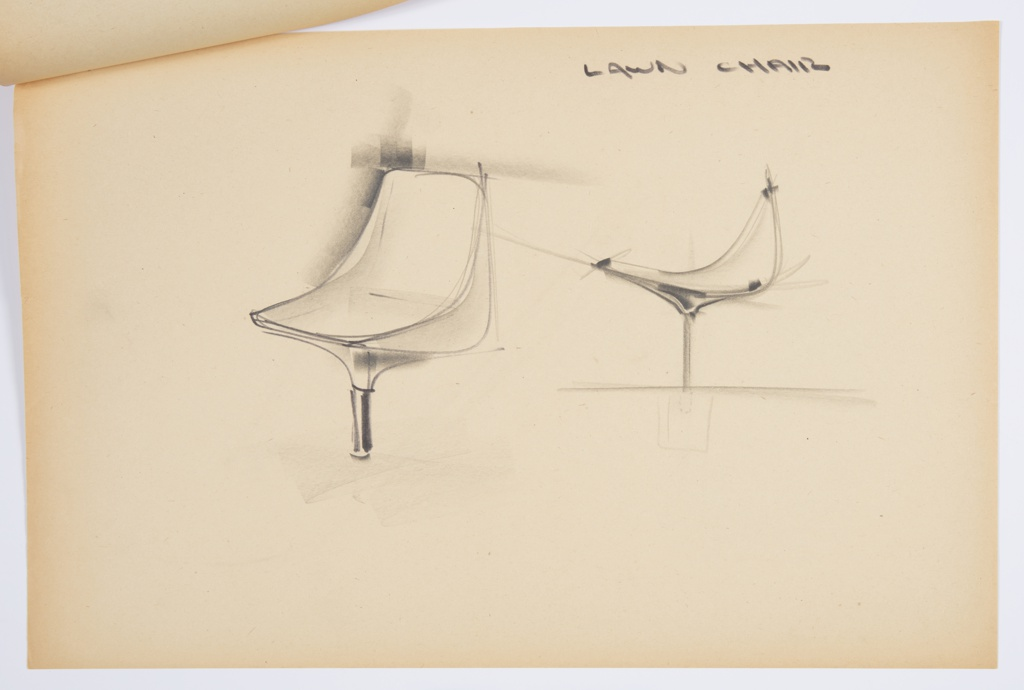 Design for blow-molded lawn chair for Union Carbide. At left, perspective shows parabolic molded plastic chair with single, slender pedestal leg, possibly in metal. At right, side elevation shows that seat depth is greater than back height.