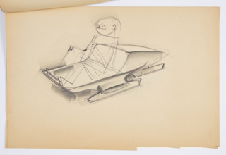 Design for a blow-molded plastic sled for Union Carbide. Perspective shows roughly-sketched passenger seated with knees bent at front of an aerodynamic sled. Vehicle lifted off ground by short runners on either side and rear stabilizer; seat itself is oblong with sloping front plane as backrest. Front cantilevers beyond side runners.