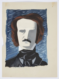 Study for an illustration for a 1946 edition of The Complete Poems and Stories of Edgar Allan Poe, published by Knopf in New York. Bust portrait of Edgar Allan Poe shown frontally. Poe's facial features are abstractly rendered in white and gray, and his brown hair and black beard are more fully developed. He wears a black cravat around his neck and a black collared jacket. Behind, a blue ground with white star-like streaks.