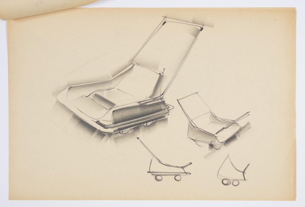 Design for blow-molded, all-weather baby stroller. At left, perspective shows low seat set into stepped square volume with push bar affixed to sides and extended up- and rearward at an angle. Below, object has wheels as well as sled runners on either side that fold up when not in use. At lower right, three sketches show different forms and concepts for stroller, including more curvilinear variations. Stapled to other designs.