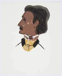 Study of an illustration for a 1946 edition of The Complete Poems and Stories of Edgar Allan Poe, published by Knopf in New York. Bust portrait of Edgar Allan Poe seen in left profile, wearing a yellow polka-dot jacket with a black collar.