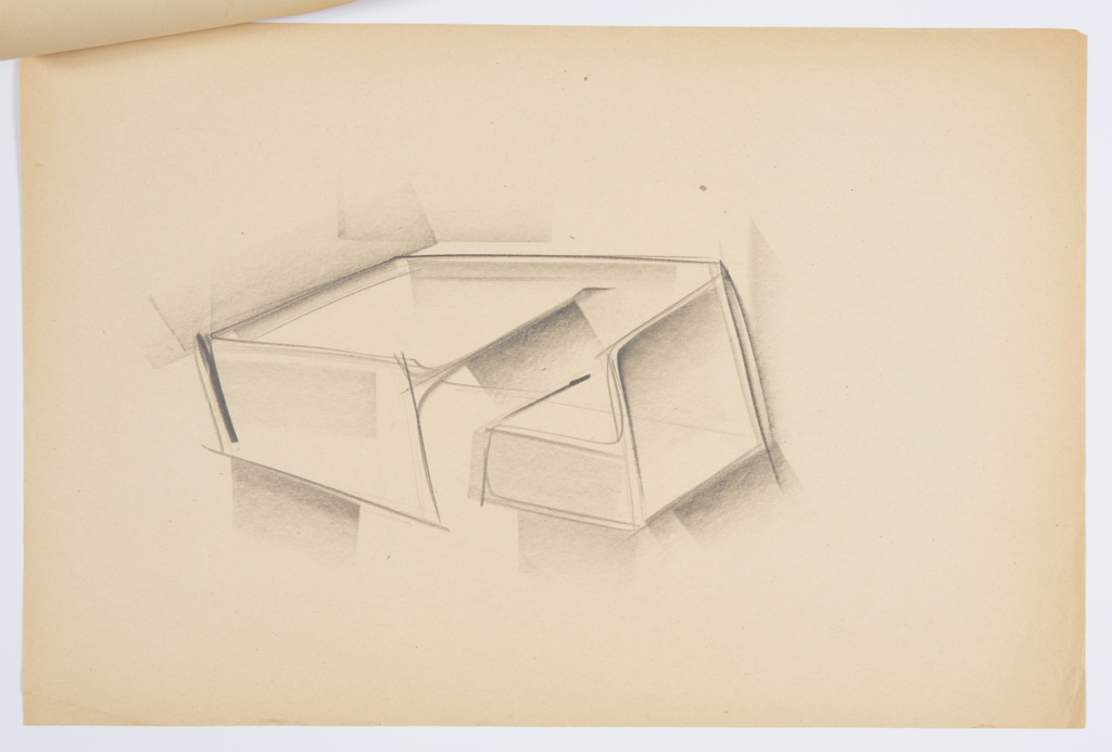 Design for blow-molded combination desk and chair. At center, partial perspective shows rectilinear desk with writing surface set slightly below plane of sides and back. Right side extends backward to also border seat, which is rectilinear and without left arm. Desk and chair seem to be supported by planar legs but details not fully articulated in drawing. Space below desk for writer's legs. Stapled to other drawings.