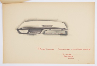 Design for portable storage unit or automobile map file. At center, partial elevation shows map file in situ on auto or boat dashboard. Wide rectangle seems to indicate windshield above and below, mirror and knobs at left with map file at right, suspended from its mount. Horizontal striations indicate integral hinge sliding door. Inscribed in red color pencil, lower right: PORTABLE STORAGE COMPARTMENT / AUTO'S [sic] / BOATS / ETC. and signed in the same, lower right: HOYT. Stapled to additional drawings.