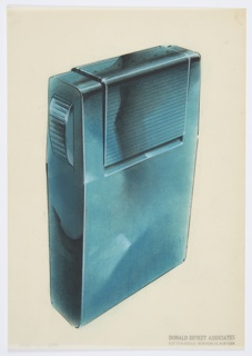 Design for lighter for Diamond Match Company. Perspective in graphite and pastel on paper vellum shows rectilinear object in metal with blue finish. Rounded upper and lower edges and planar surfaces save for rectangular element above; this features horizontal streamlines and is set off from overall volume. At left, horizontally ridged button slopes out from side; when depressed, this triggers the lighting mechanism, seen above as rectangular panel wherein DIAMOND is engraved.