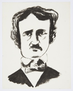 Illustration for a 1946 edition of The Complete Poems and Stories of Edgar Allan Poe, published by Knopf in New York. Bust portrait of Edgar Allan Poe shown frontally, rendered in black. He wears a black jacket over a white shirt with a high collar and a bowtie.