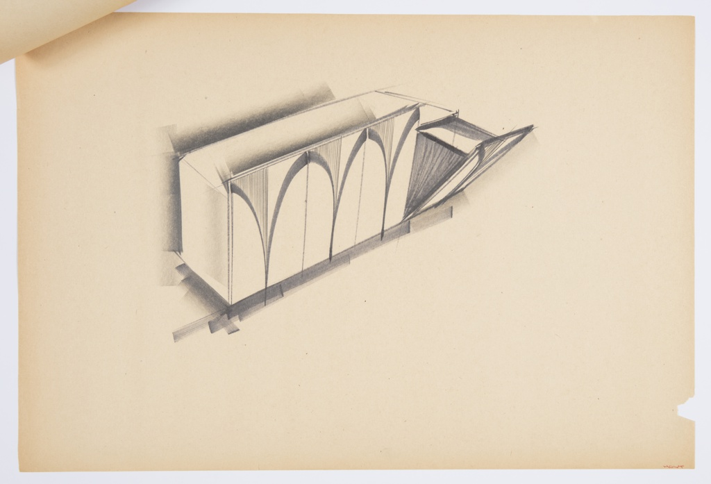 Design for set of blow-molded plastic storage bins. At center, perspective shows four pull-out bins. Primary rectangular volume houses four separate bins accessed by pulling the front plane down at front. Fronts ornamented or textured with curving V element; above this, left side is vertically striated while right and lower sections are blank. Interior walls of bins seem to be in wood or other patterned material. Stapled to additional drawings.
