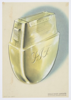 """Design for lighter for Diamond Match Company. Perspective in graphite and pastel on paper vellum shows shield-shaped  gold or brass lighter. Below, object tapers to a very rounded point; smooth sides with front plane engraved with monogram """"PIF"""" in cursive majuscules. Above, object tapers to create trapezoidal volume; this is chased across all sides and bears a trapezoidal reserve wherein """"Diamond"""" is engraved in sans-serif majuscules. At left, ridged button slopes out from side; when depressed, this triggers the lighting mechanism, seen above as delineated section of gridded plane. It is likely that top section separates from bottom to allow user to change fuel bag stored within."""