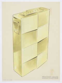 "Design for lighter for Diamond Match Company. Perspective in graphite and pastel on paper vellum shows rectangular gold or brass lighter. Front surface divided into alternating panels that either jut out from or remain in plane. At right, ridged button angles out from side; when depressed, this triggers the lighting mechanism, seen above as an oblong panel wherein ""Diamond"" is engraved in italic, sans-serif majuscules."