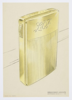 Design for lighter for Diamond Match Company. Perspective in graphite and pastel on paper vellum shows rectangular gold or brass lighter with vertical chasing from bottom to two-thirds height, and from that point, gently bulging planar surface engraved with cursive letters LDF. On either side of object, spring clips run down, wrap lower corners, and terminate in small hooks that fit into recessed points on either side; unclipping these allows the user to separate lighter components and replace fuel bag; this is the crux of the object's innovative design. On its left, object features a horizontally-ridged button that, when depressed, releases the panel at top (shown with row of dotted lines) to reveal the lighting mechanism and wick.