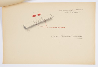 Design for a one-piece folding safety reflector lens kit. At upper left, three-panel kit shown in unfolded position. Middle rectangular panel features recesses into which two circular red safety lenses snap. Notations indicate that kit consists of single piece of molded plastic and as articulable by means of a living hinge between each panel. Stapled to additional drawings.