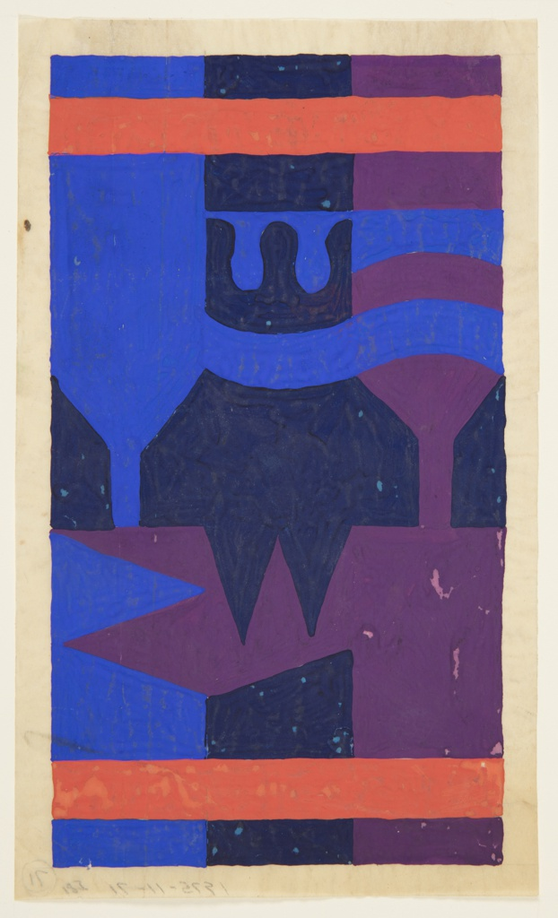 Design for carpet in brush and gouache on tracing paper. Vertical format with red horizontal band above and below; these are superimposed over abstract composition of shapes with angled or undulating forms in cobalt, indigo, and violet gouache.