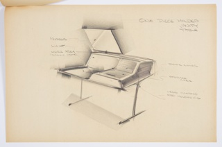 Design for one-piece wood vanity table with molded plastic elements. At center, perspective drawing shows overall rectangular object supported by two inverted T legs. Vanity slopes upward at rear for additional storage inside as well as shelf space above. At left, square mirror mounted above work surface (which might also have a molded insert) with light below. At right, a storage area covered by horizontally slatted sliding door (shown in closed position). Stapled to additional drawings.