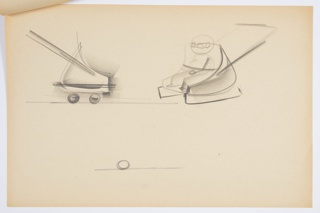 Design for blow-molded, all-weather baby stroller. At upper left, side elevation shows low, parabolic seat with wheels and runners folded up along lower edge; push bar extends backward at an angle. At upper right, perspective shows stroller with runners folded down for wintry conditions; a child figure is seated in the stroller. Below, incomplete detail of wheel. Stapled to other designs.