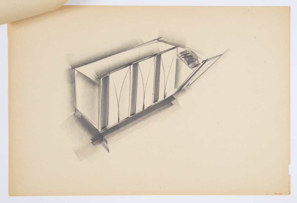 Design for set of blow-molded plastic storage bins. At center, perspective shows four pull-out bins. Primary rectangular volume houses four separate bins accessed by pulling the front plane down at front. Fronts ornamented or textured with curving V element. Stapled to additional drawings.