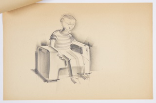 Design for child's blow-molded plastic chair. Perspective shows low, blocky seat with rounded edges and unornamented surfaces. Backless chair features rectilinear sides that serve as supports and arm rests, with open area below and for seat that create an overall H-shaped design. Object shown with seated child figure. Stapled to other designs.