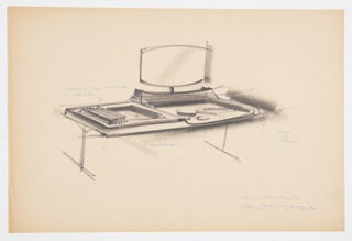 Design for sculptured vanity table with blow-molded components. At center, perspective shows rectangular vanity table with raised right rear area to support mounted mirror. Object supported by inverted T legs. Left side features recess concealed by integral hinge sliding door shown in open position; left side features work area with brush, compact, and comb arranged thereon. Notations in blue ballpoint pen.