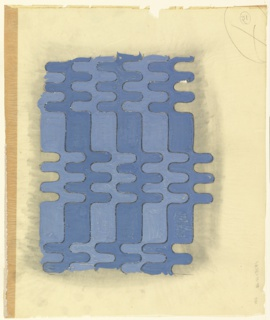 Design for textile. Undulating, interlocking waves of alternating light and dark cornflower blue wiggle across surface. Outlined in graphite. Dark seam with secondary material along left edge.