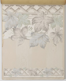 A selection of designs, each with multiple colorways, including landscape friezes, embossed die-cut borders, some printed on ingrain and oatmeal papers.