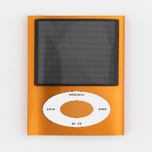 Vertical rectangular form of orange aluminum with large rectangular screen above circular white click wheel with control symbols.