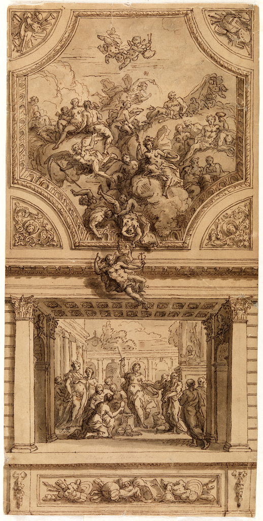 Drawing in two registers. Upper register: Octagonal shaped ceiling panel with a large group of figures of Greco-Roman gods. Flying figure of Mercury between the two registers. Lower register: within a painted architectural enframement a scene with many figures representing Achilles revealing his true identity at Court of Lycomedes. Frieze beneath scene depicting armor.