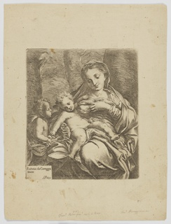 Mary, at right, is shown seated, with eyes downcast and one breast bared, held between her fingers so the Christ child may feed. He is shown nude, splayed out across her lap, twisting toward an angel at the left of the frame. Behind the figures, tree trunks. Attributed at lower left, and signed by publisher across the bottom.