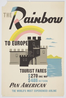 Poster design encouraging travel to Europe via Pan American Airlines. Image of a black and gray crenellated castle or fortress with water indicated to the right, with a rainbow above. Text in gray and black, above: THE Rainbow / TO EUROPE; below, in alternating black and blue: TOURIST FARES / $270 ONE WAY / $486 RETURN / PAN AMERICAN / THE WORLD'S MOST EXPERIENCED AIRLINE.