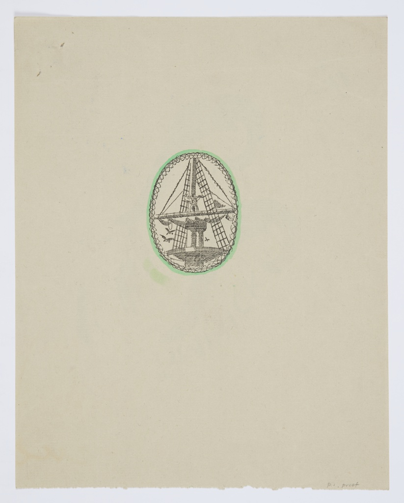Design for a title page illustration of Herman Melville's Benito Cereno. At center, contained within an oval frame resembling a twisted rope, shaded in green, the top of a ship's mast and sails. Balancing on the top-most boom, a small figure with one hand raised and the other holding a telescope. Seagulls depicted flying in the sky below.