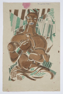 Illustration for Herman Melville's Benito Cereno. Abstracted rendering of a topless figure holding a baby to their breast, shown from the waist up. The figure has cuffs on each wrist, and a blanket or cloth draped across their lap. The background is geometrically abstracted, perhaps depicting the deck of a ship. The figure and the baby are both shaded in brown, while the cuffs, parts of the background and some highlights are shaded in teal.