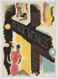 Printed proof of an illustration for Knopf's 1929 edition of Carl van Vechten's controversial novel, Nigger Heaven, originally published in 1926.  At bottom left corner, two figures (one in a black suit, and the other in a red dress) walk into the lit doorway of a two-story building. The building has a sign across it, which reads: BLACK VENUS. Above, a third figure leans out the window, their head resting in one hand.