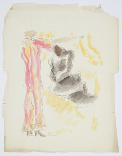 Study for an illustration for Knopf's 1929 edition of Carl van Vechten's controversial novel, Nigger Heaven, originally published in 1926. Two figures, abstractly rendered, facing one another. The figure on the left is depicted standing, and wearing a long red robe or dress. The figure on the right appears to be in a seated position, and is dressed in black. The figure in red raises one hand above the head of the figure in black. Yellow brushstrokes suggest the background surrounding the two figures.