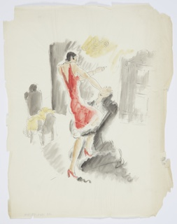 Study for an illustration for Knopf's 1929 edition of Carl van Vechten's controversial novel, Nigger Heaven, originally published in 1926. At center, two figures are interlocked: one standing, the other one kneeling with their arms wrapped around the standing figure's legs. The standing figure (at left) wears a red dress, and pushes their right hand into the face of the keeling figure. The figure in red's left arm is raised above the keeling figure's head. The kneeling figure wears a black suit. In the background, a roughly rendered chair, at left.