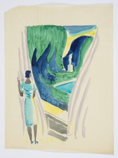 Illustration for Knopf's 1929 edition of Carl van Vechten's controversial novel, Nigger Heaven, originally published in 1926. At bottom left, a figure dressed in blue, stands to the left of a large window (with curtains on either side) and observes a lush garden scene outside. At right, among the plants in the garden outside, the corner of a blue, rectangular pool. In the background, a white, figural statue on a pedestal.