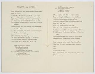 Brochure, Triumphal March