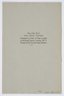 Brochure for T. S. Eliot's Triumphal March. On the cover, at center, an abstracted image of a figure in a doorway. Above, in black text: TRIUMPHAL MARCH / BY T. S. ELIOT; below: DRAWINGS BY E. MCKNIGHT KAUFFER