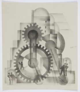 Illustration for Frederick Edwin Smith's book, The World in 2030 A.D. At center, a large network of cogs and mechnical gears. To the left and right, two pairs of figures. An additional figure is positioned within the large central cog wheel.
