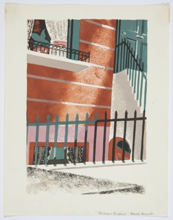 Printed proof of an illustration for a 1929 edition Arnold Bennett's book, Elsie and the Child. A close up of the side of a brownstone-style building, seen from the street. Separating the building from the street is a green fence which runs horizontally across the image. At right, a set of white stairs with a black railing leads up to a green door. At top left, the bottom portion of a window with white curtains.