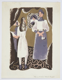Printed proof of an illustration for a 1929 edition Arnold Bennett's book, Elsie and the Child. Two figures stand in a room, with a lamp atop a set of drawers and a portrait hanging on the wall in the background. The figure on the left faces back, wearing a long white dress and with long black hair. The figure on the right faces forward, wearing a white shirt and a purple skirt.