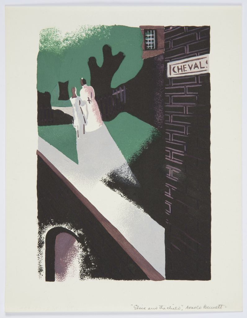 Printed proof of an illustration for a 1929 edition Arnold Bennett's book, Elsie and the Child. In the center of an abstracted urban setting, two figures walk hand in hand into the distance. In the foreground, at right, a brick wall with a white street sign, reading: CHEVAL.