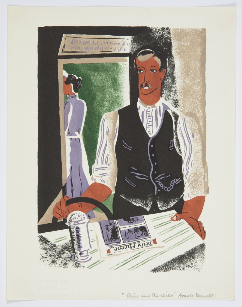 Printed proof of an illustration for a 1929 edition Arnold Bennett's book, Elsie and the Child. In the foreground, a figure wearing a black vest stands at a table, with a newspaper resting on the surface. In the background, through an open doorway, a second figure with their back turned wearing a purple dress and a white apron. Above the doorway, a sign with purple lettering reads: DO UNTO OTHERS AS / YOU WANT THEM TO DO.