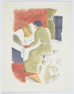 Printed proof of an illustration for a 1929 edition Arnold Bennett's book, Elsie and the Child. A figure lying, face up, in bed is comforted by a second figure sitting at the bedside in a green dress. In the background, a green curtain frames a window.
