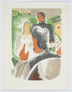 Printed proof of an illustration for a 1929 edition Arnold Bennett's book, Elsie and the Child.  Two figures stand in front of a seated figure seen only from behind, in the foreground. The room in which they stand has green walls, and a chandelier hanging from the ceiling, at left. At right, an open doorway, through which stairs can be seen leading up. Above the door, a sign with blue lettering and illegible text.