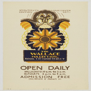 Poster design for the London Underground, advertising the The Wallace Collection which can be reached by the railway. At center, a yellow sunburst beneath a stylized human head. Text in taupe, upper center: SEVENTEENTH & EIGHTEENTH / CENTURY ART; in gold and taupe, lower center: THE / WALLACE / COLLECTION / BOOK TO BOND STREET; with additional text in taupe specifying hours of admission.