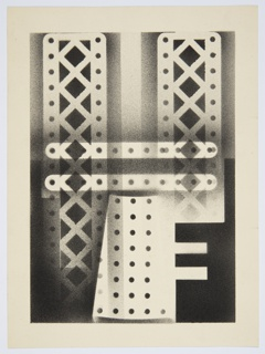 Possible illustration for Frederick Edwin Smith's book, The World in 2030 A.D., for which Kauffer produced a series of drawings using an airbrush technique. Abstract composition showing a construction fo building girders with rivet holes, rendered in black and white.