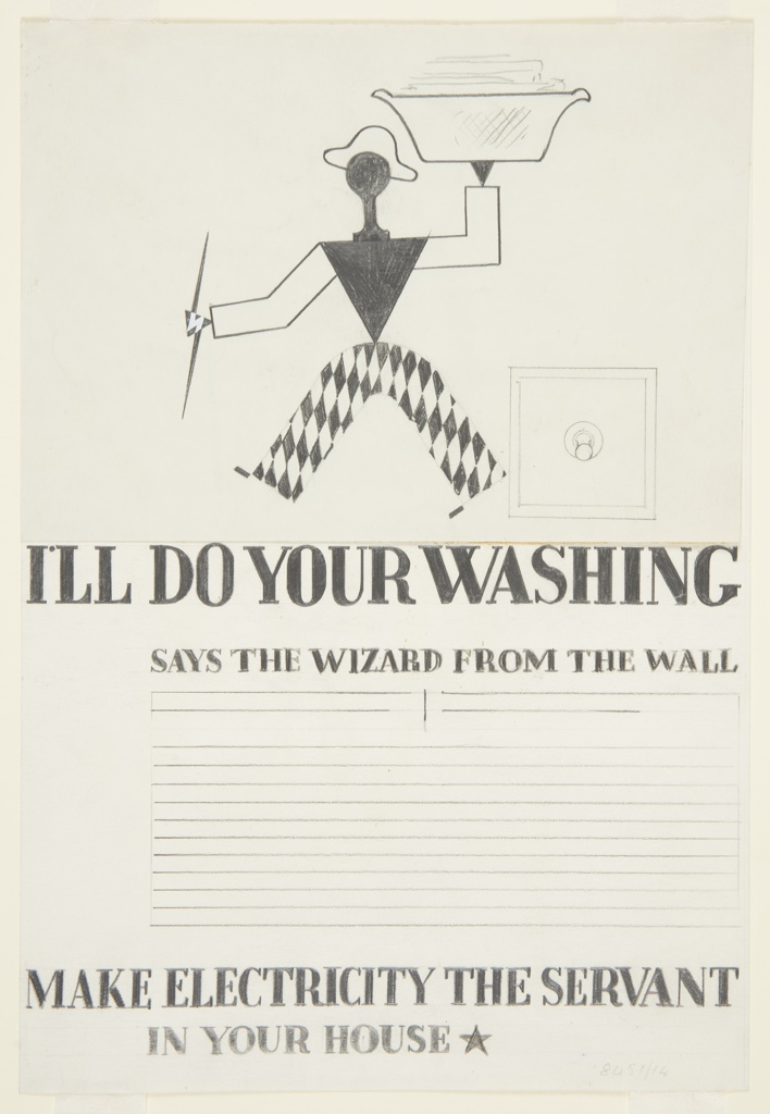 """Study for an advertisement in """"The Wizard from the Wall"""" series. Walking, abstract figure, dressed as a harlequin, carrying a laundry basket overhead and a lightning bolt in the other hand. Outline of an electric switch at right. Text in graphite, center: I'LL DO YOUR WASHING / SAYS THE WIZARD FROM THE WALL / [eight lines blocked out for copy] / MAKE ELECTRICITY THE SERVANT / IN YOUR HOUSE [black star]."""