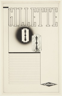 Study for a Gillette Safety Razor Company advertisement, featuring the company's signature blade. At center, two depictions of a razor blade. The blade at left, slightly above the other, is rendered in negative, showing only its form. The second blade, at right, slightly below the other, is a paper collage and inscribed with the Gillette logo [oriented to be parallel to the razor edge] on the right side and text in outline on the left side: MADE IN ENGLAND. At top of page, in large text, outlined in black: GILLETTE. At lower left quadrant on page, graphite lines indicating space for copy. At bottom right corner: [Gillette diamond-shaped logo]. Framing lines in graphite surrounding entire image.