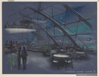 Interior perspective design for an undersea lounge. At upper left, two circular mezzanine levels float above main space, accessed by suspended spiral staircase at center. At lower left, curving bar with orange pedestal stools are occupied by figures, with two additional figures in foreground at left. At right, seating consisting of circular tables with Wegner-like chairs throughout. Entire space contained by geodesic dome in glass and steel that looks out into seascape with shimmering sea tones in pastel and several fish.